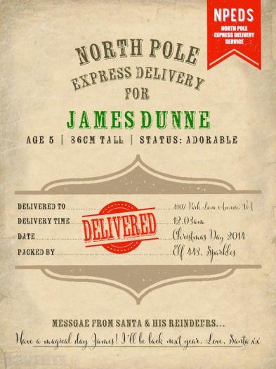 Personalized Santa Delivery Docket for u20ac3 http\/\/wwwadvertsie - delivery docket