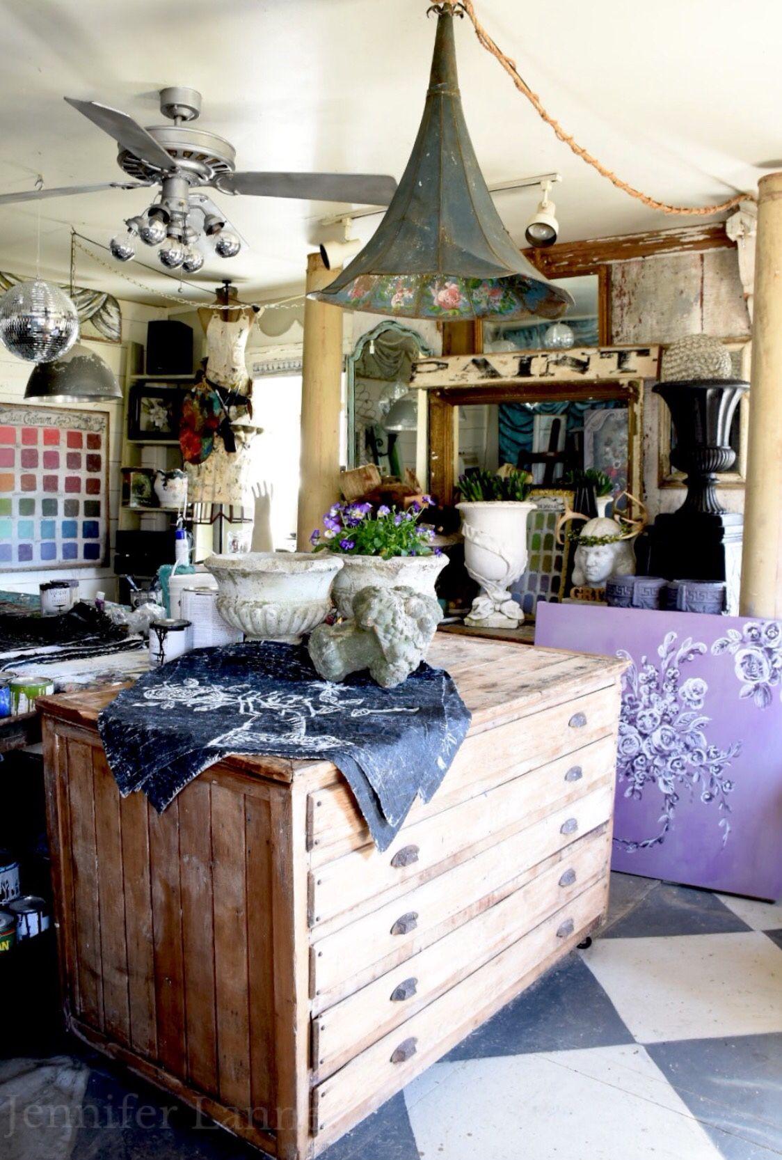 Jennifer lanne artist studio studio decor cottage style