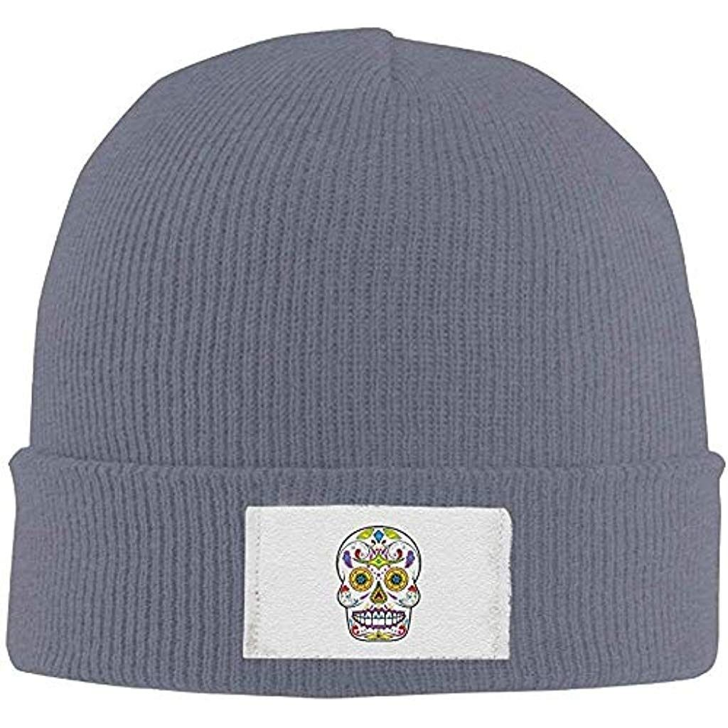 fuyon Adults Sugar Skull Elastic Knitted Beanie Cap Winter Warm Skull Hats