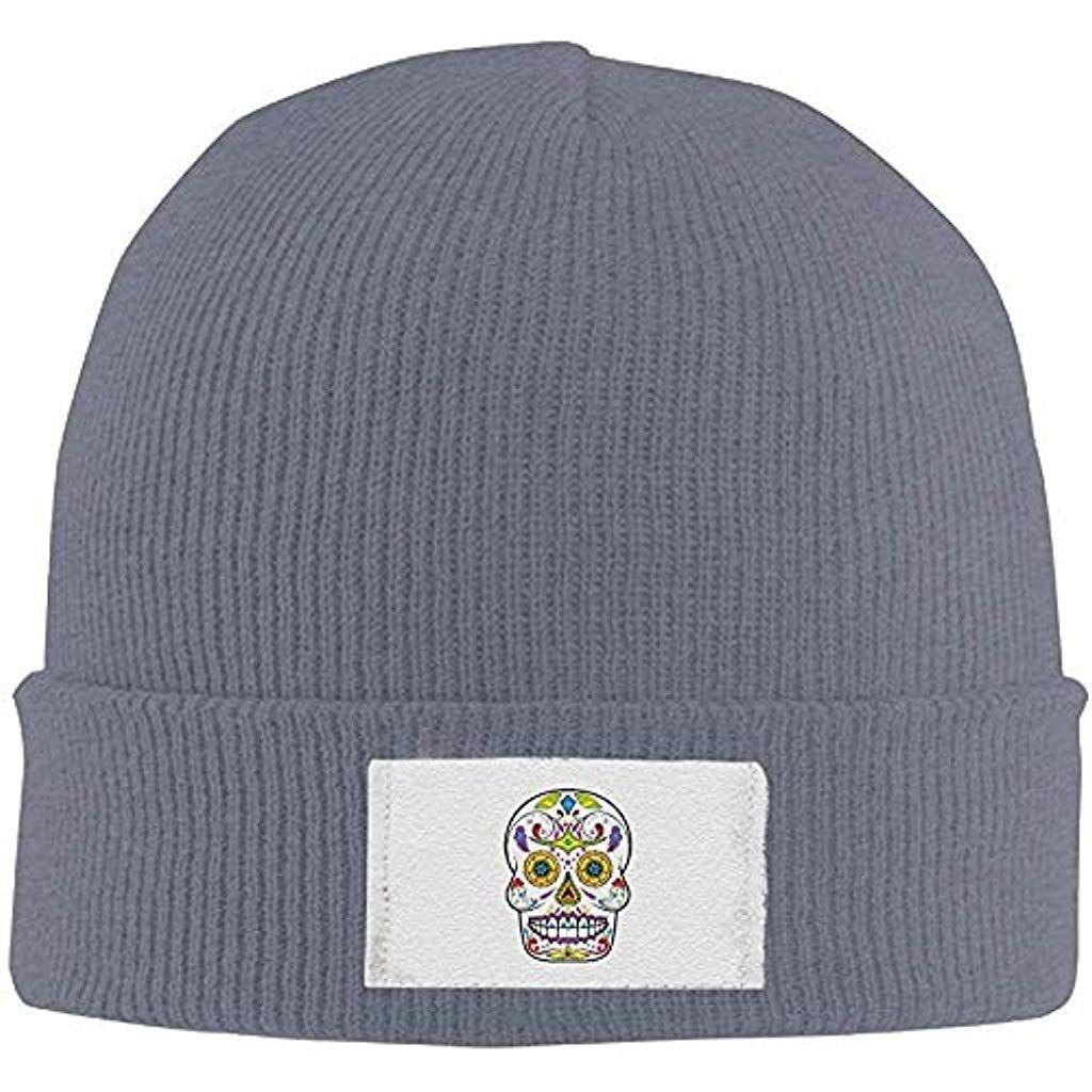 fuyon Adults Sugar Skull Elastic Knitted Beanie Cap Winter Warm Skull Hats