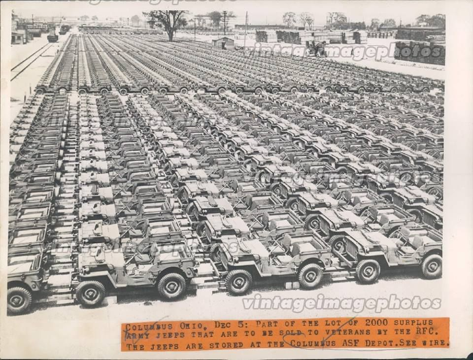 Rollerman1 A Couple Thousand Jeeps Awaiting Sale To Veterans Columbus Ohio 1945 Willys Jeep Military Jeep Jeep