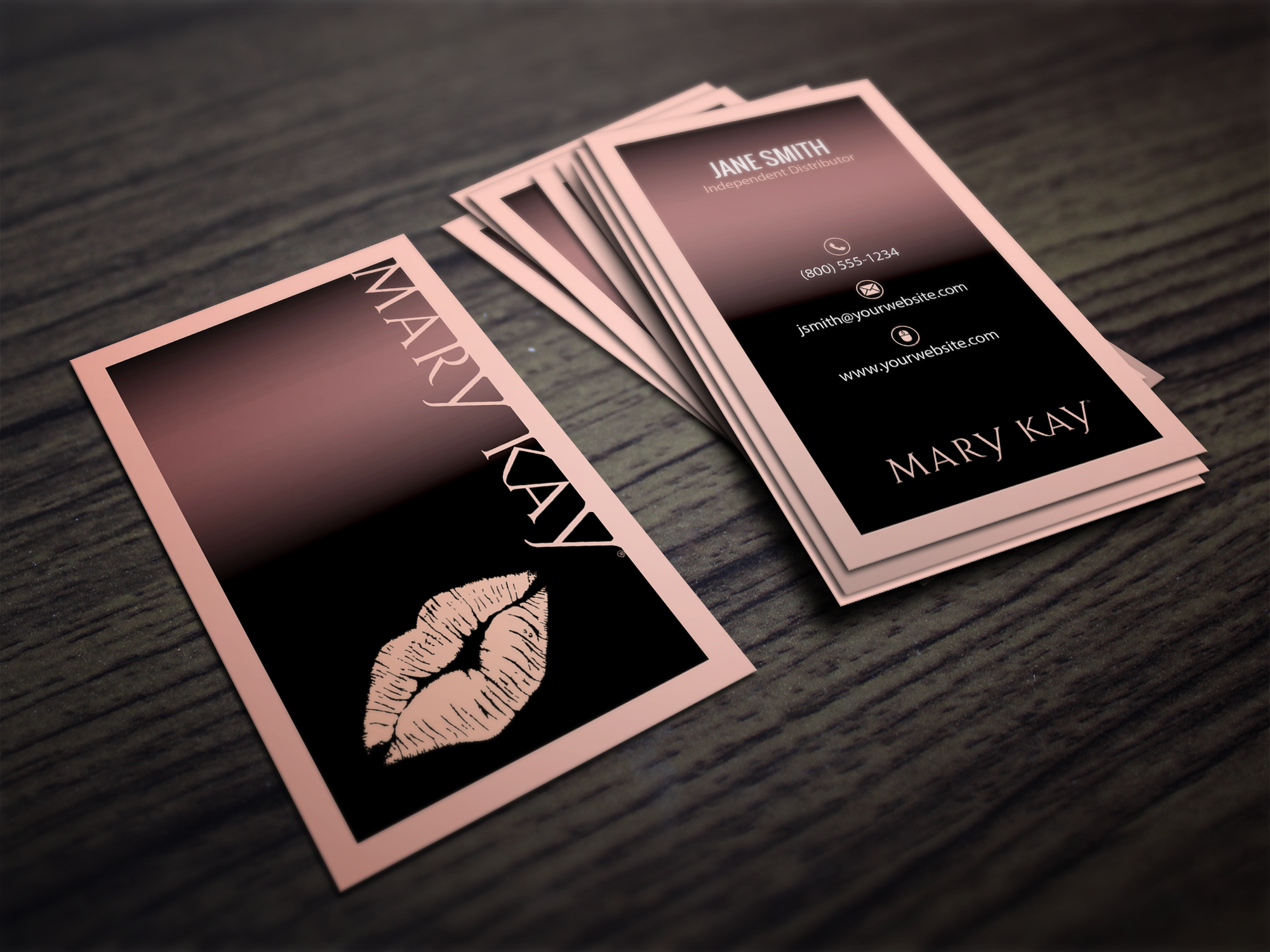Mary kay business cards cute business card template designs for mary kay cosmetic consultants cute pink kiss reheart Choice Image