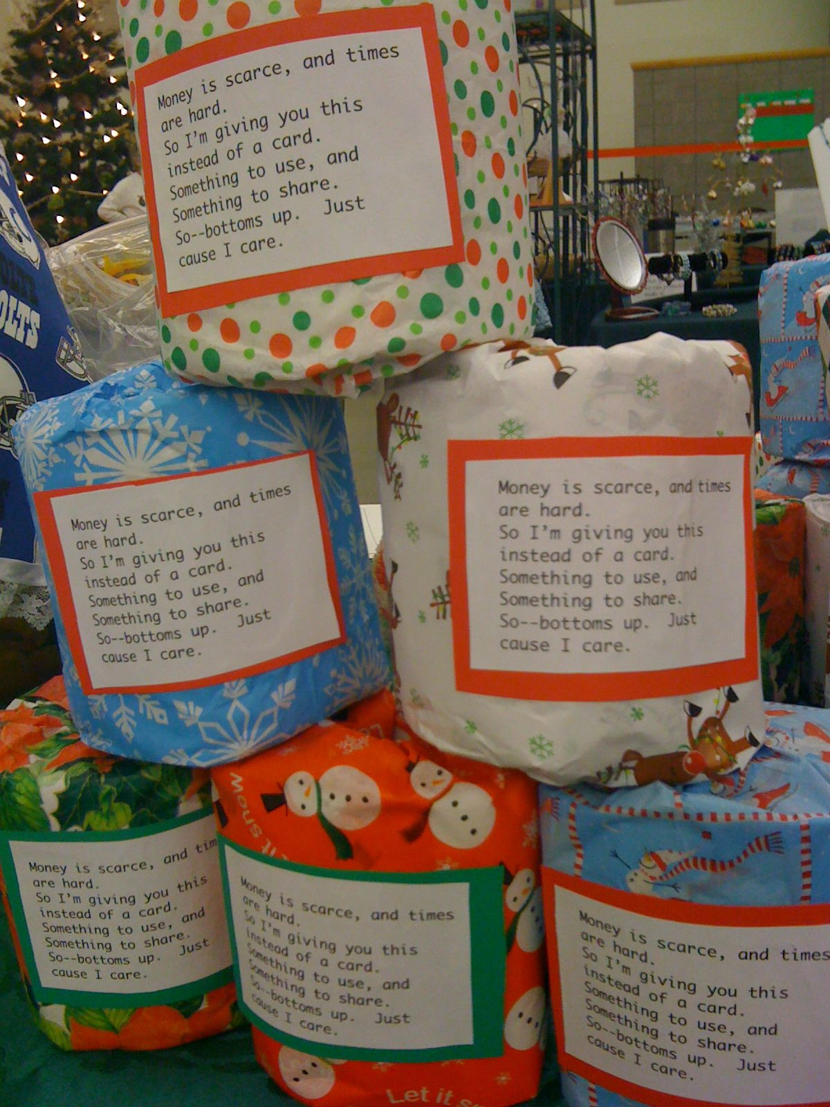 Toilet paper gag gifts money or a gift card can be