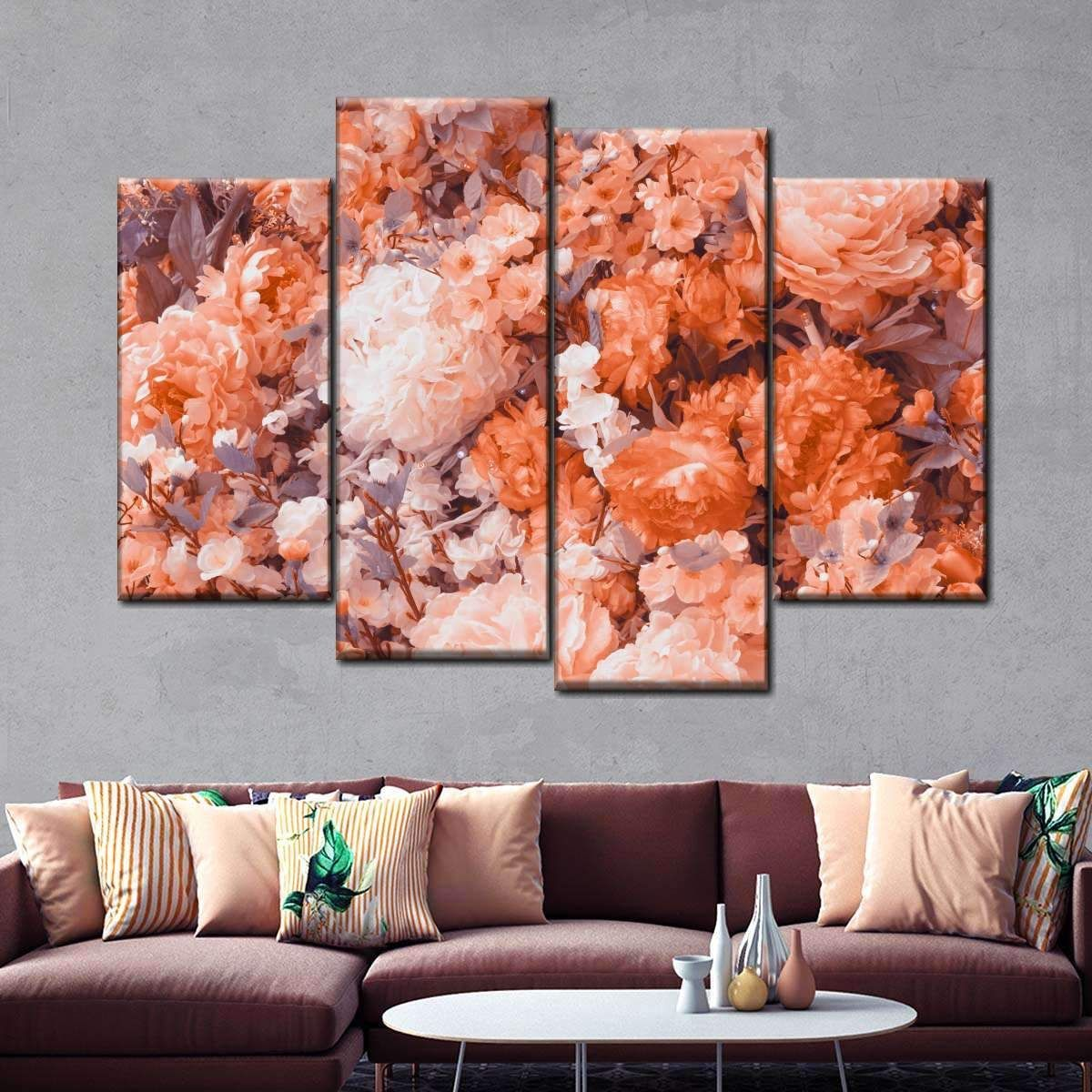 Pantone Flower Allure Canvas Multipantone Flower Allure Multi Panel Canvas Wall Art In 2020 Multi Canvas Painting Canvas Wall Art Painting