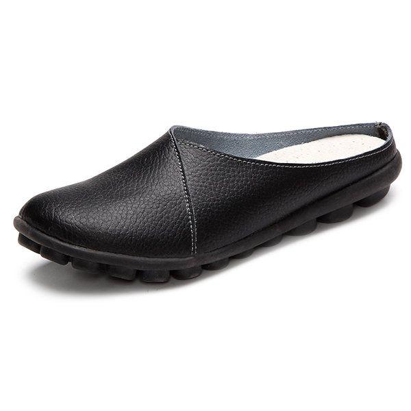 Socofy Grande Taille Couleur Pure Semelle Souple Talon Ouvert Occasionnel Paresseux Chaussures Plates buQ9PvJ8