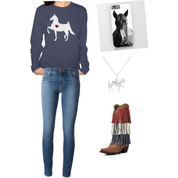 Horse by hellobree on Polyvore featuring J Brand -- featuring Forelock & Feather's Saddlebred horse silhouette long-sleeve t-shirt: http://www.zazzle.com/saddlebred_horse_silhouette_tshirts-235134505560053283