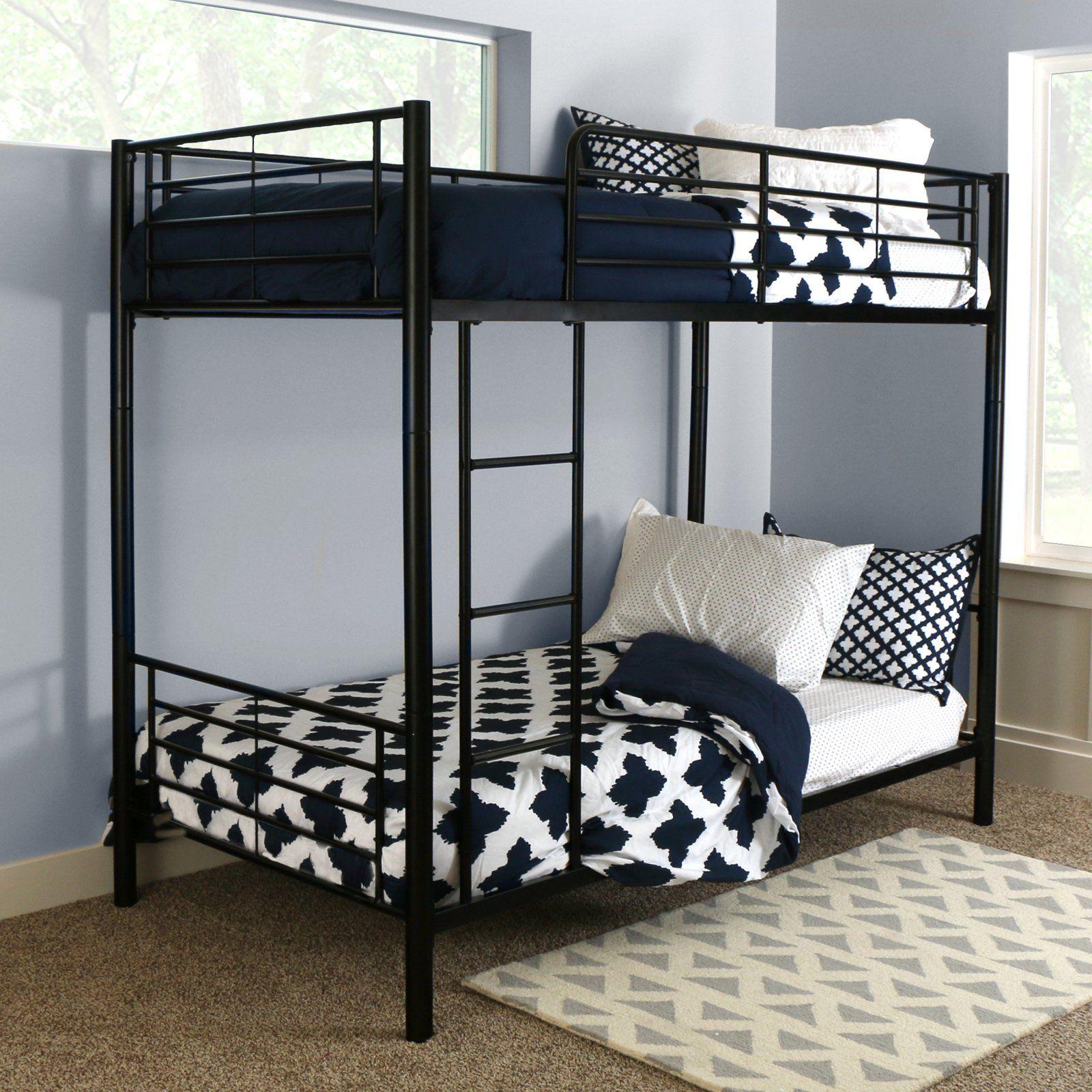 Black Metal Twin Over Twin Bunk Beds Kids Convertible Frame Bedroom Furniture
