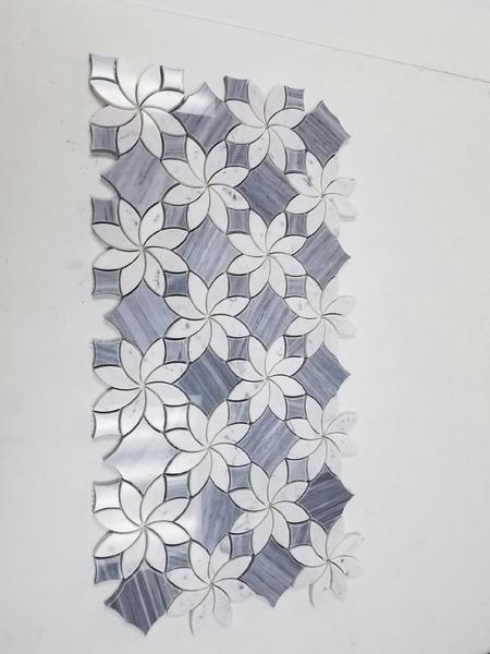 Floral Pattern Bardiglio Grey And Carrara White Marble Waterjet Mosaic Tile Mosaic Mosaic Tiles Waterjet Mosaic Tile