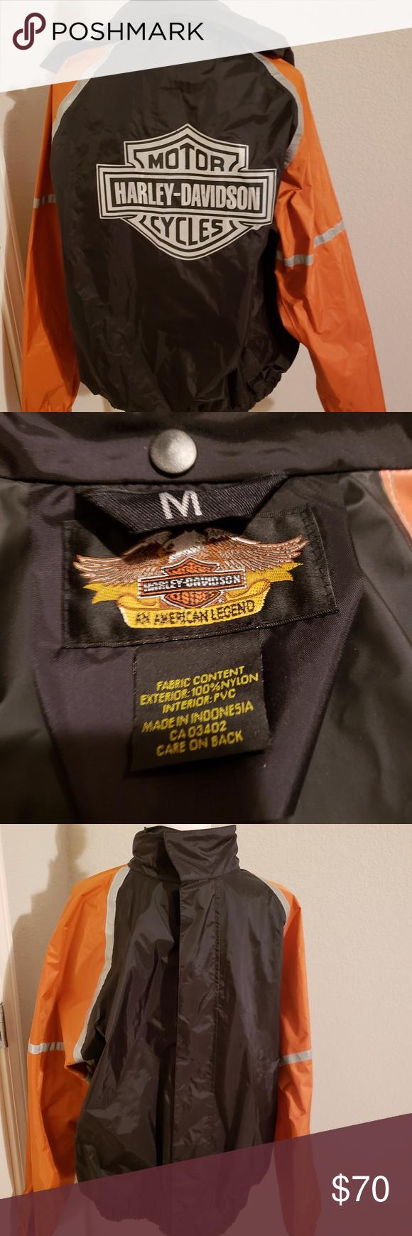 Harley Davidson Rain Jacket Medium 25 Across Chest 28 Long Like New Mens Medium Ladies Xl Harley Davidson Jackets Coats Raincoats Harley Davidson Jackets Rain Jacket
