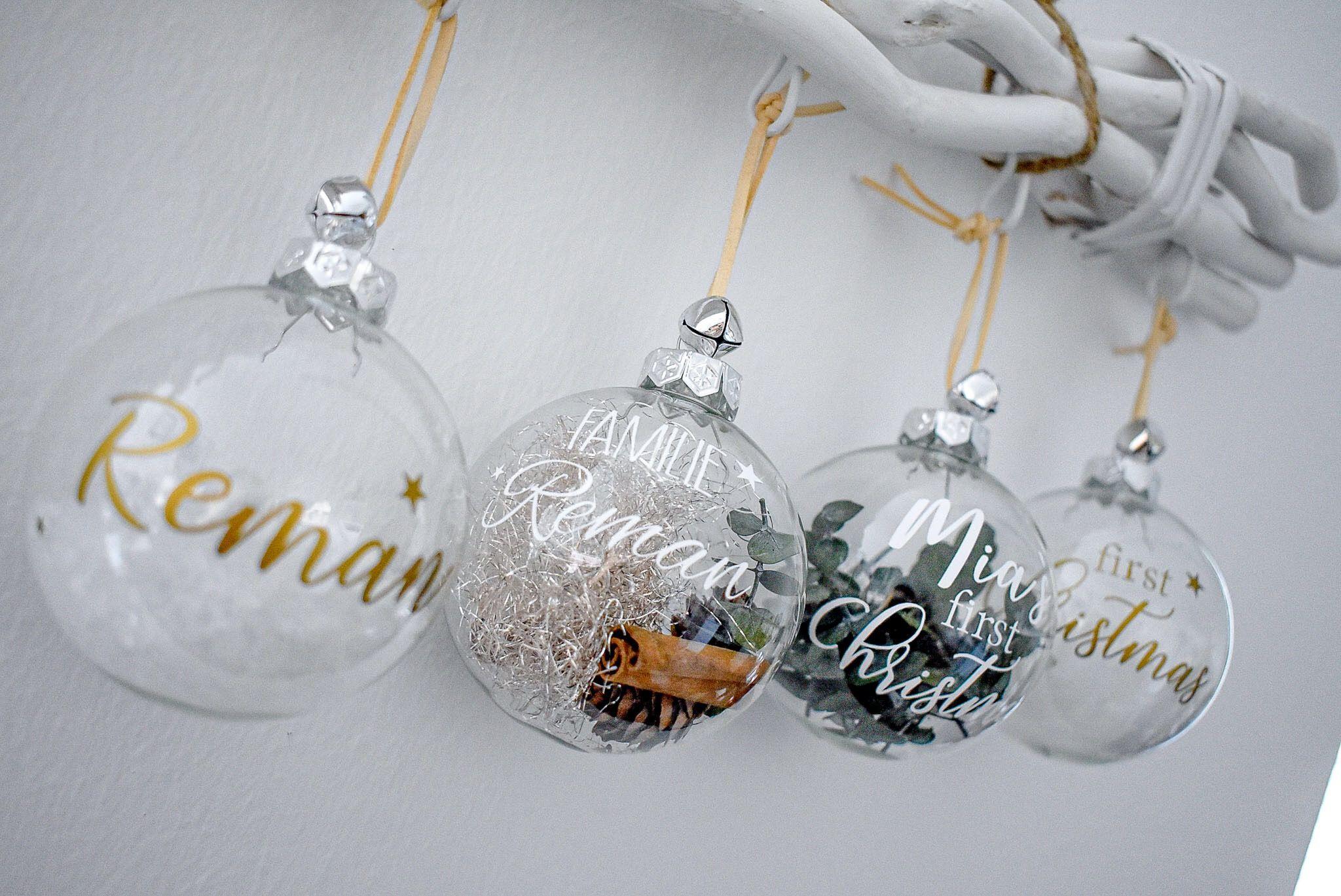 Personalisierte Christbaumkugeln  #weihnachtsdekoimglasmitkugeln