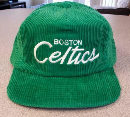 New Vintage NBA Boston Celtics Basketball Corduroy Hat 1980′s Adjustable  Back  NBA  Hats 33ab350b187f