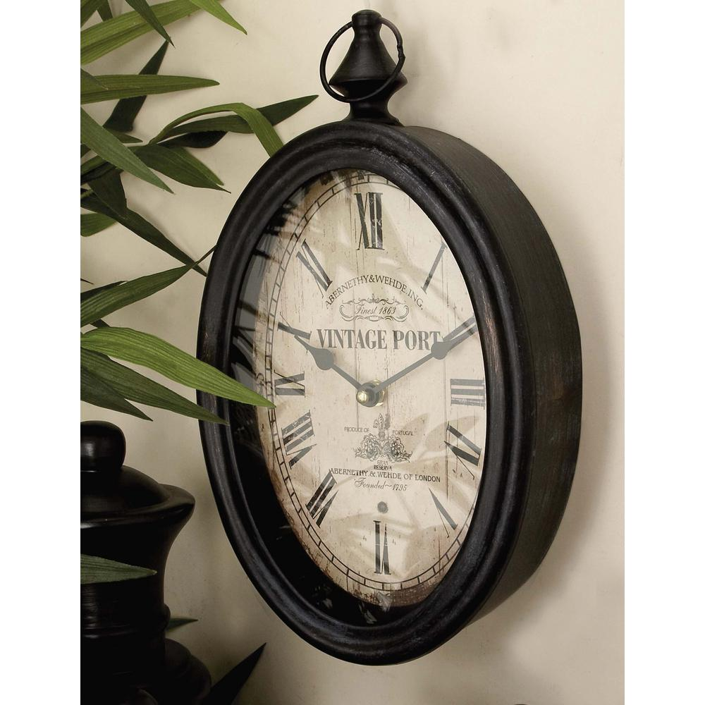 Litton Lane 2 Assorted 15 In X 8 In Antique Reproduction Style Oval Wall Clocks 52520 Clock Brown Wall Clocks Antiques