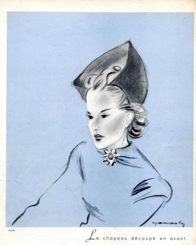 Agnès (Millinery) 1937 Fashion Illustration Hat, Jacques Demachy