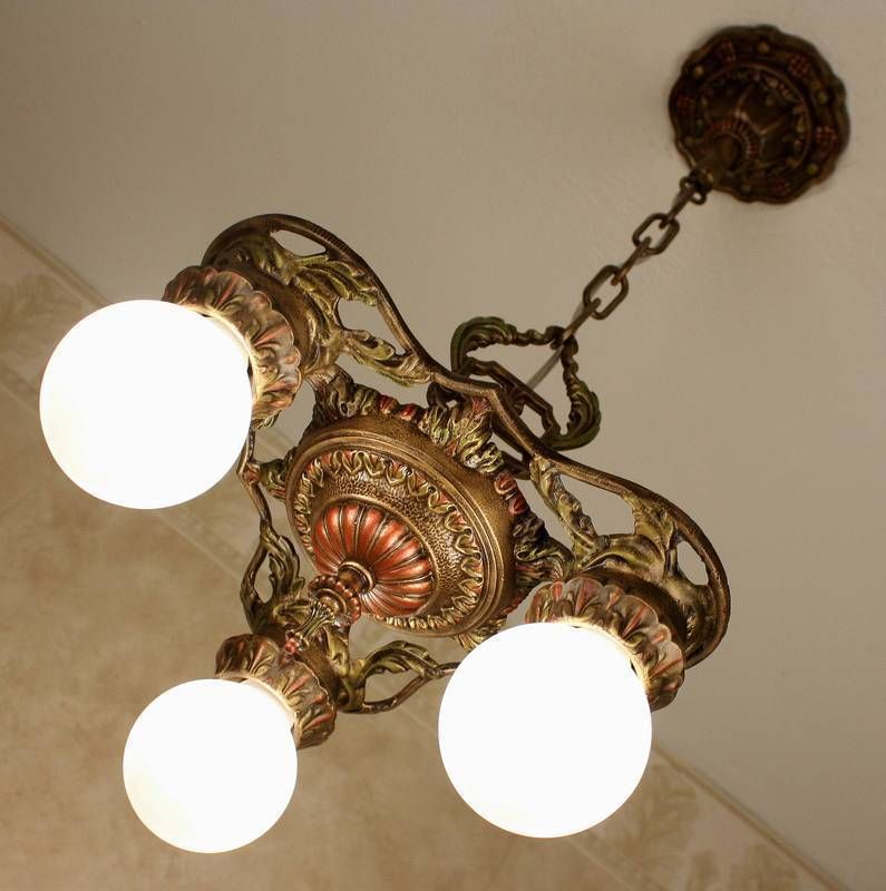 1920s antique vintage victorian art deco ceiling light fixture chandelier