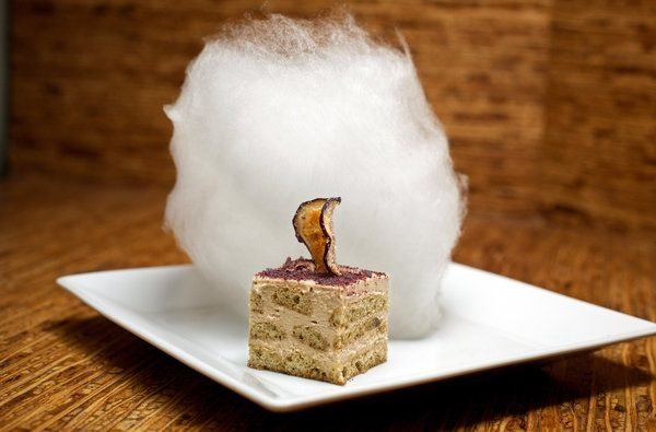Dirt Candy in the East Village - Michael Nagle for The New York Times    Eggplant tiramisù, accompanied by a white cloud of cotton candy that tastes of rosemary and elevates the dessert to a daring level.