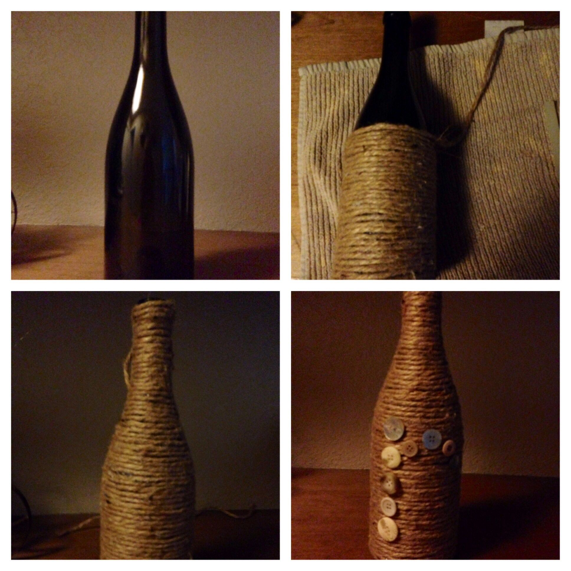 Decorative wine bottle. Took an old wine bottle, wrapped jute around it then hot glued buttons in the shape of an R on the front of it. This took about an hour. The most time consuming part was wrapping the jute around the bottle.