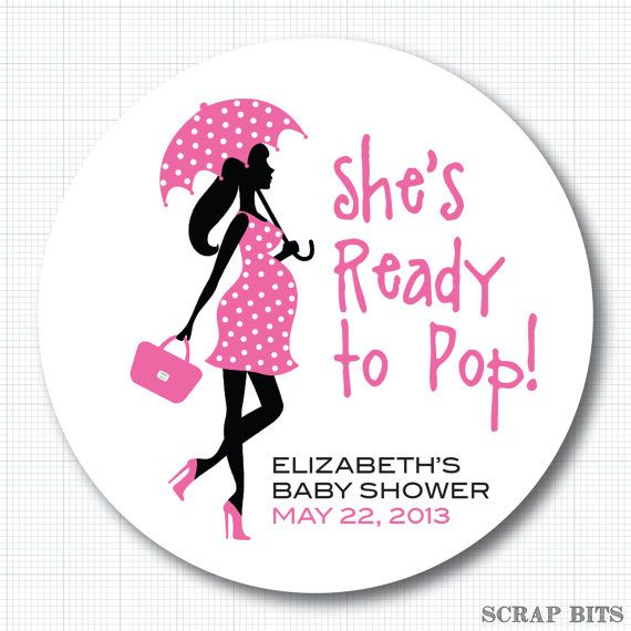 Ready to pop pregnant lady with umbrella personalized baby shower stickers popcorn box labels or envelope seals