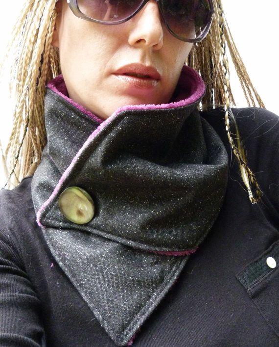 Neckwarmer Black Fleck Tweed by moaningminnie on Etsy