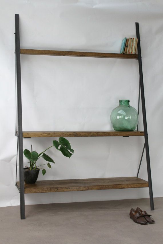 KONK Industrial Ladder Bookcase Oak Steel Van KONKfurniture Op Etsy