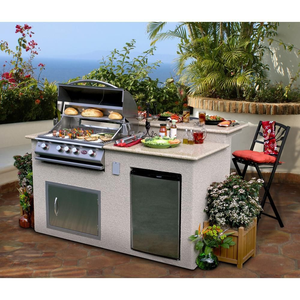 Cal Flame Outdoor Kitchen 4 Burner Barbecue Grill Island With Refrigerator E6016 Outdoor Kitchen Design Layout Outdoor Kitchen Countertops Diy Outdoor Kitchen