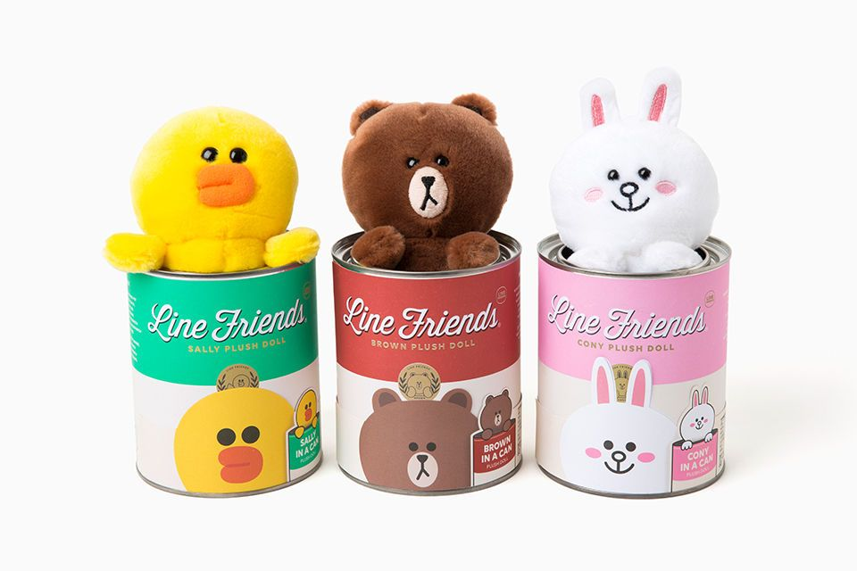 LINE FRIENDS Tin Can Plush Toy BROWN CONY Character Soft Stuffed Doll 6