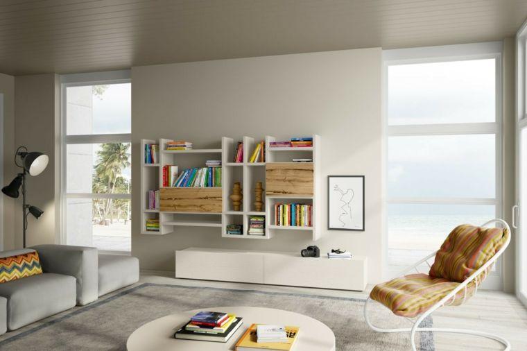Décoration de salon moderne 50 dessins en blanc et bois Salon