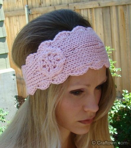 Free Knit Headband Pattern Crafts I Love Pinterest Scallops, Flowers an...