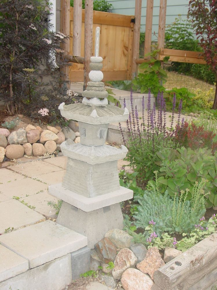The Japanese Garden Pagoda I Built By Using Plastic Plant Pots And Cement.