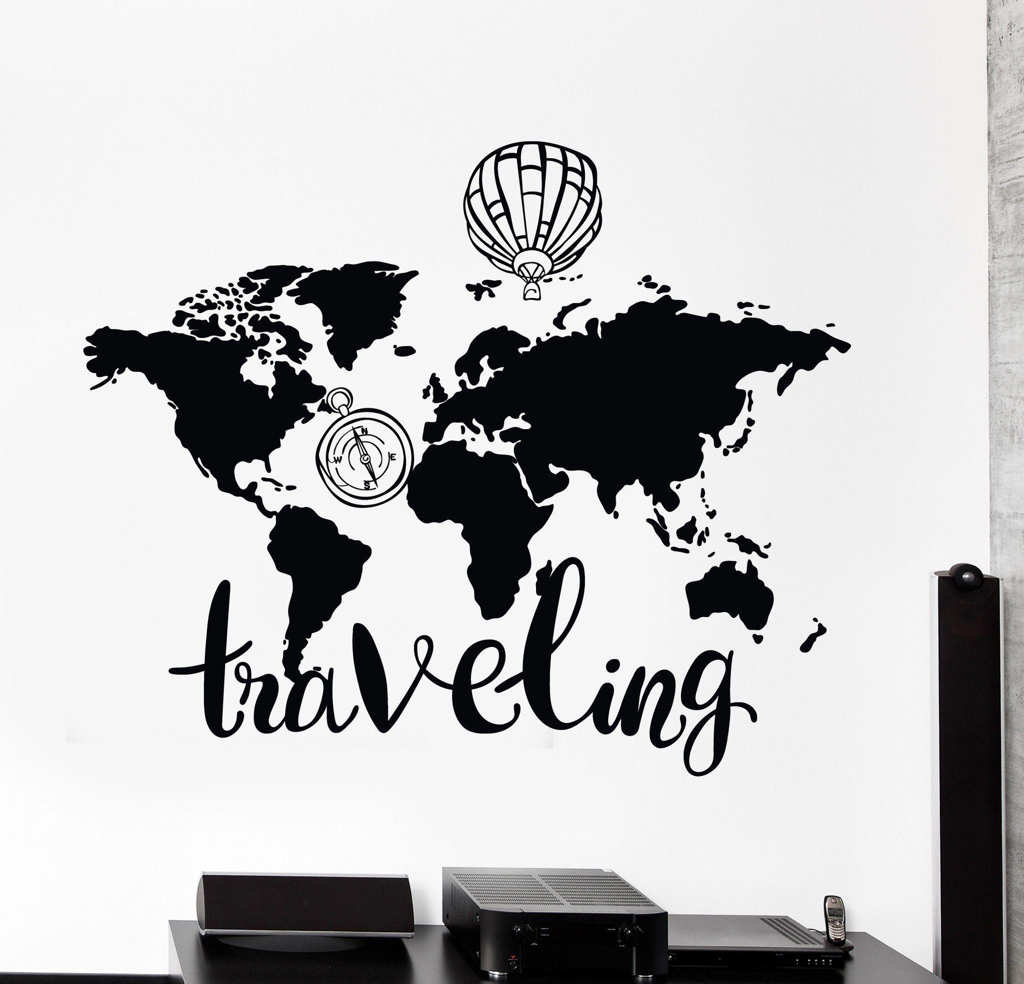 Wall Vinyl Decal World Map Air Balloon