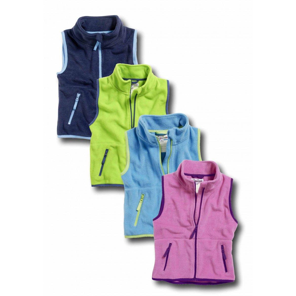 Playshoes Kinder-Fleece-Weste farbig abgesetzt in vier Farben Gr. 80 – 140