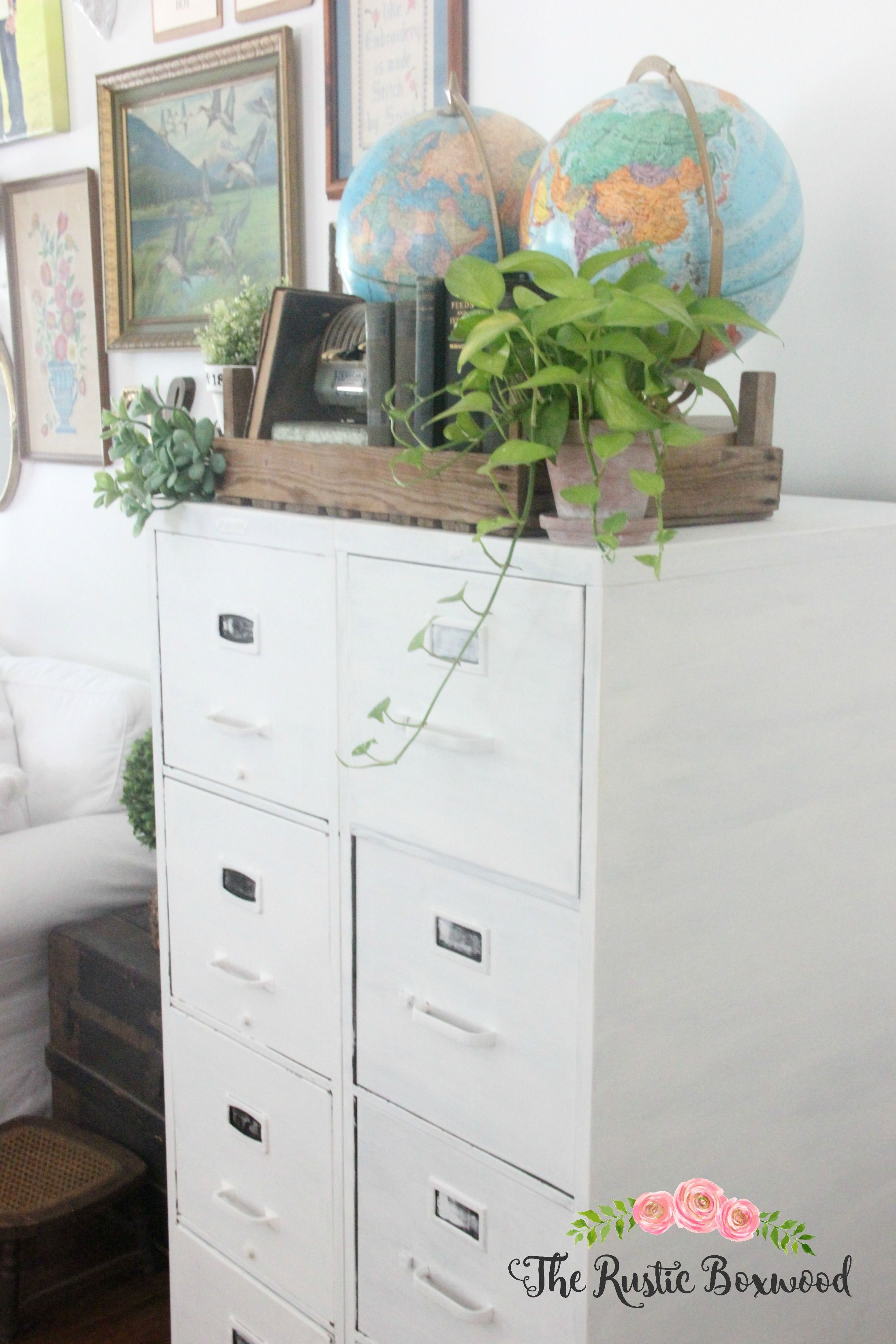 metal file cabinet makeover the rustic boxwood chalk paint rh pinterest com