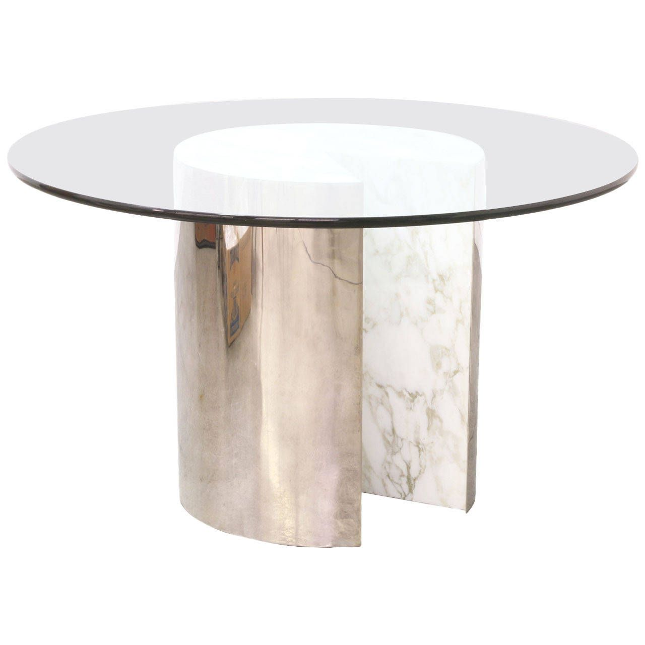 vintage stainless steel and carrera marble dining table with glass rh pinterest com