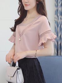 Buy Hollow Out Plain Round Neck Bell Sleeve Blouse online with cheap prices and discover fashion Blouses at Fashionmia.com.