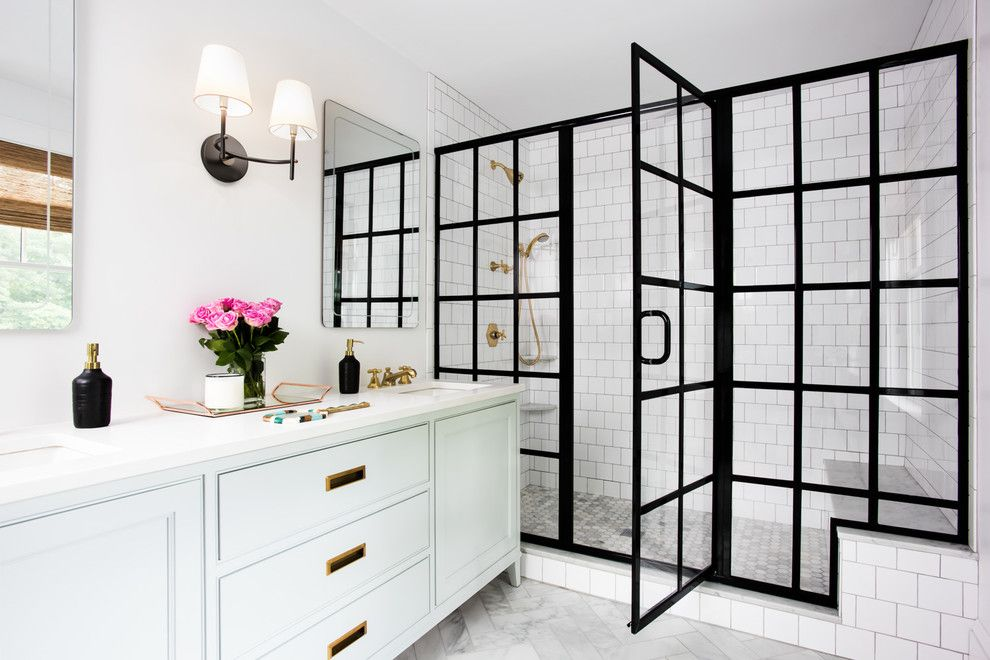 black frame showers sophisticated with modern industrial flair rh pinterest com