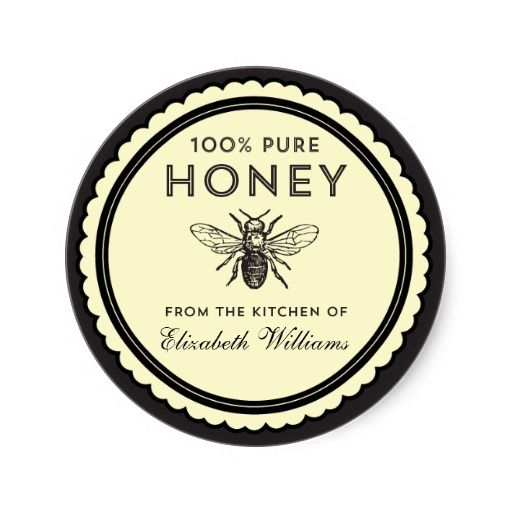 photograph about Honey Jar Labels Printable named Classic Do-it-yourself Honey Stickers  Do it yourself Crafts