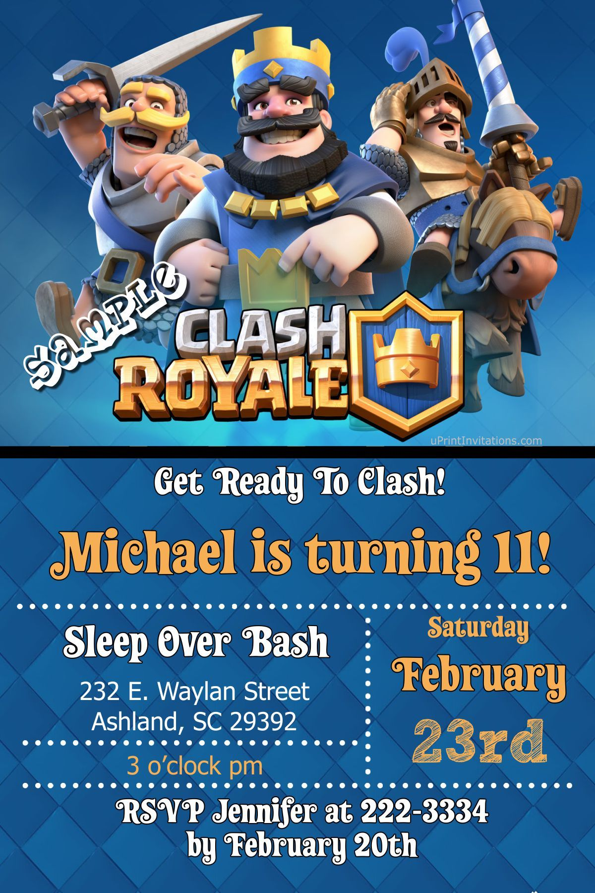 Clash Royale Birthday Invitations