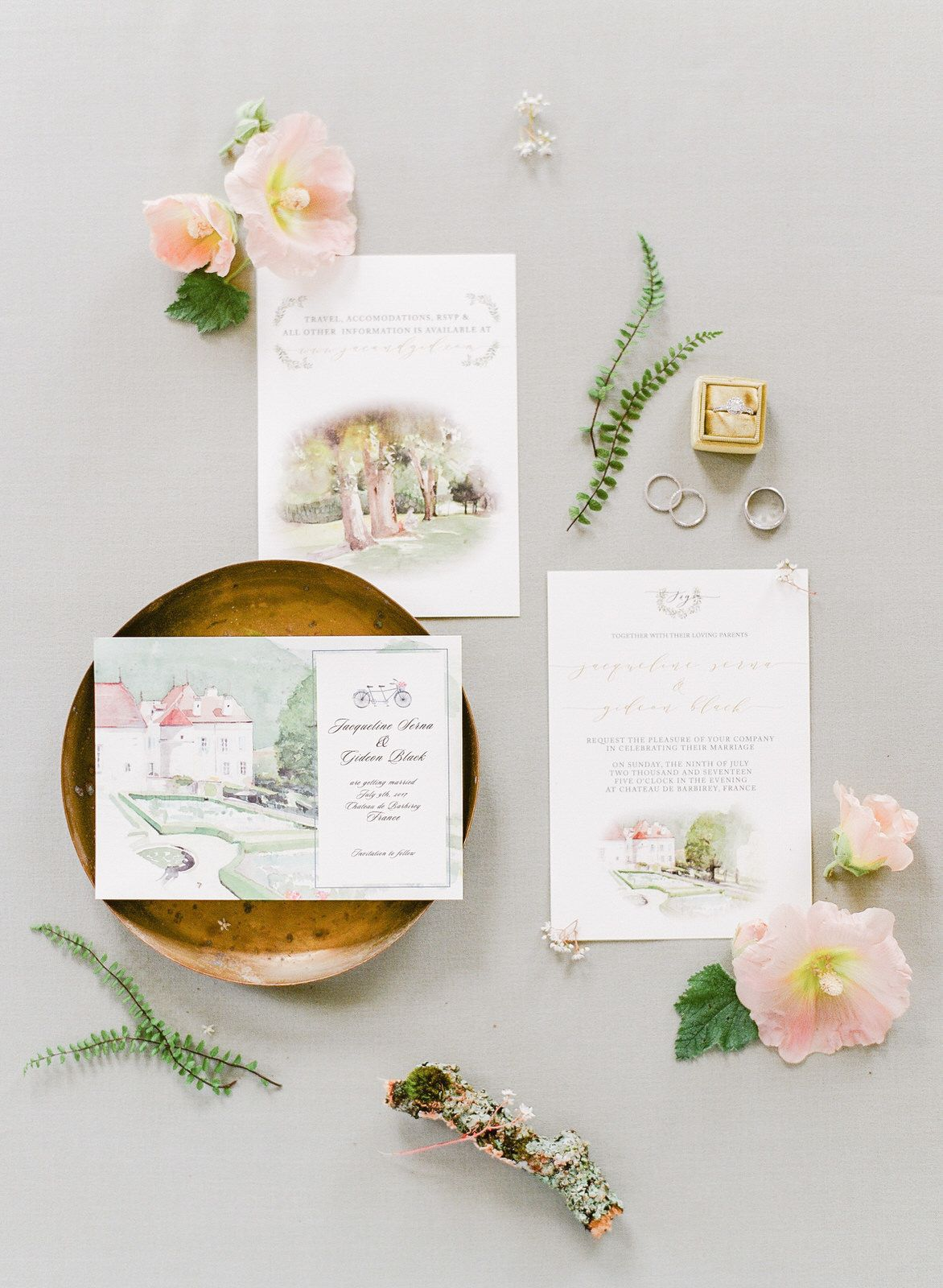 paper style wedding invitations%0A Watercolor Paintings Inspired This French Countryside Wedding