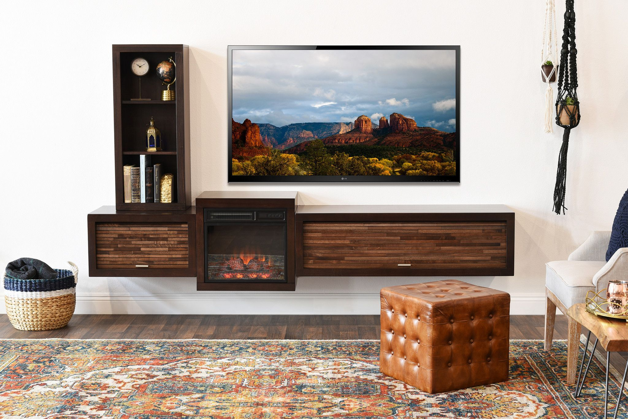 Floating Tv Stand With Fireplace Eco Geo Espresso Floating Tv