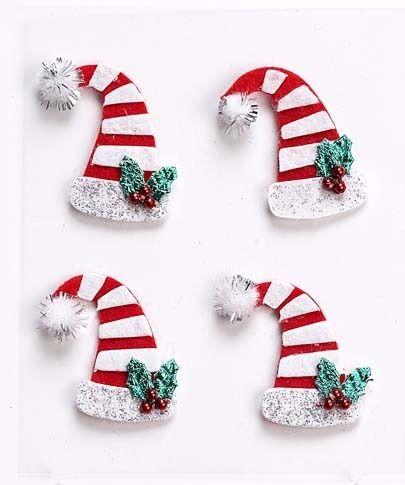 0ff2e6e43cbea Mini Stick-on Felt Christmas Hats   Elf Hats - Christmas Embellishments  (4pk)