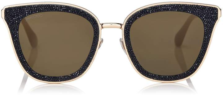 4f6d6cd177 Jimmy Choo LIZZY Black and Gold Cat-Eye Sunglasses with Crystal Detailing