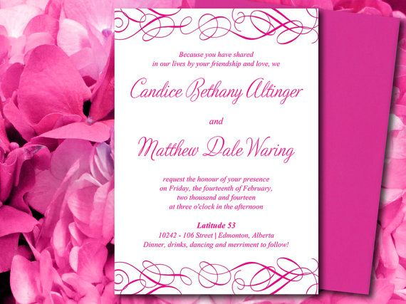 DIY Wedding Invitation Word Template Whimsical Swirl Fuchsia - invitation word template