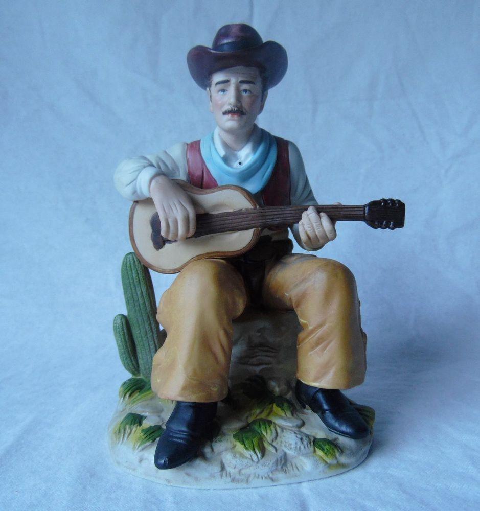 homco home interiors cowboy playing guitar precelain figurine 1472 homco home interiors cowboy playing guitar precelain figurine 1472