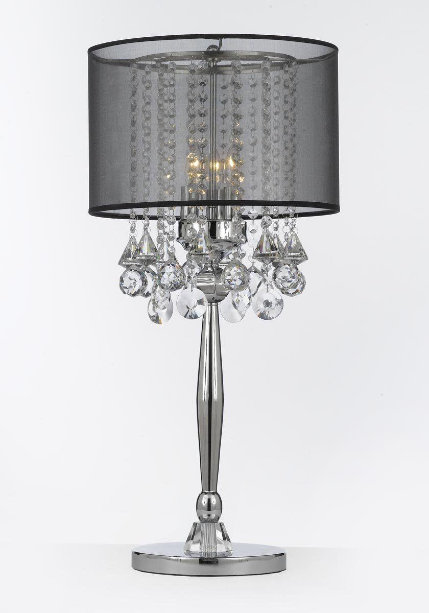 silver mist 3 light chrome crystal table lamp with black shade rh pinterest com