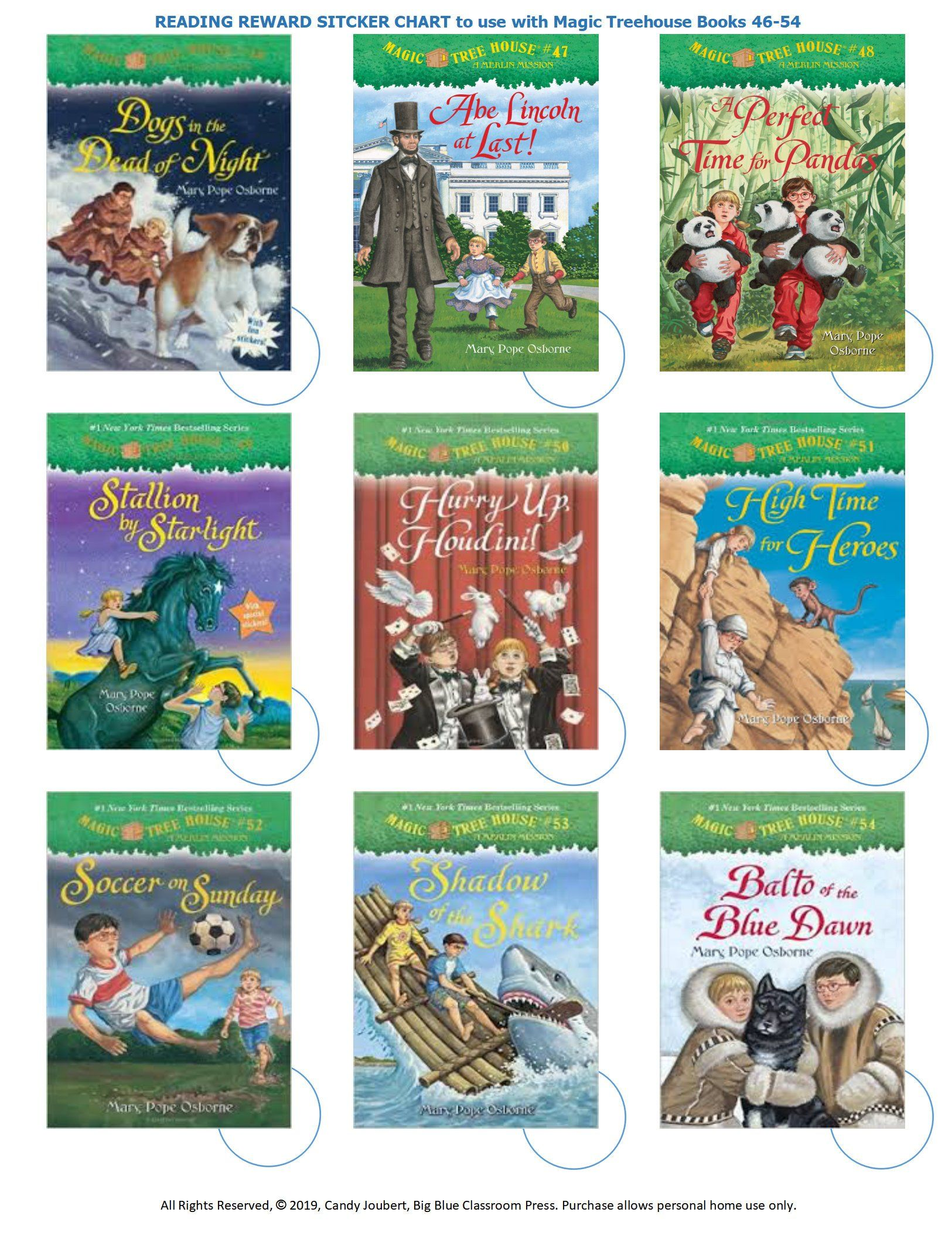 Add On Books 46 To 54 Reading Reward Sticker Chart For