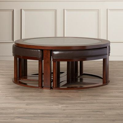 Eastin Coffee Table With Nested Stools Coffee Table Coffee Table And Stool Set Coffee Table Setting
