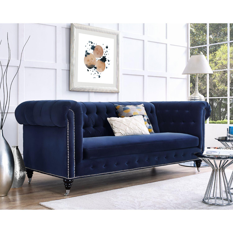Hanny Velvet Sofa Blue Velvet Sofa Velvet Tufted Sofa Sofa
