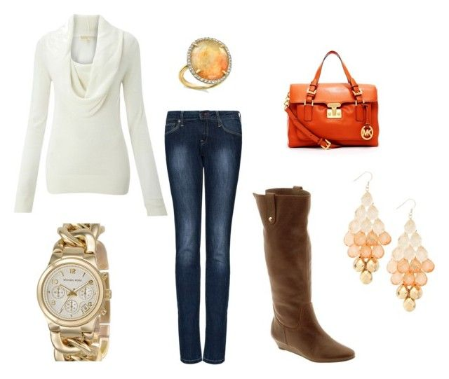 Winter Fashion by krisbarbie on Polyvore featuring MICHAEL Michael Kors, MANGO, Irene Neuwirth, Steve Madden, skinny jeans, brown boots, flat boots, chain watch, kors watch and orange purse