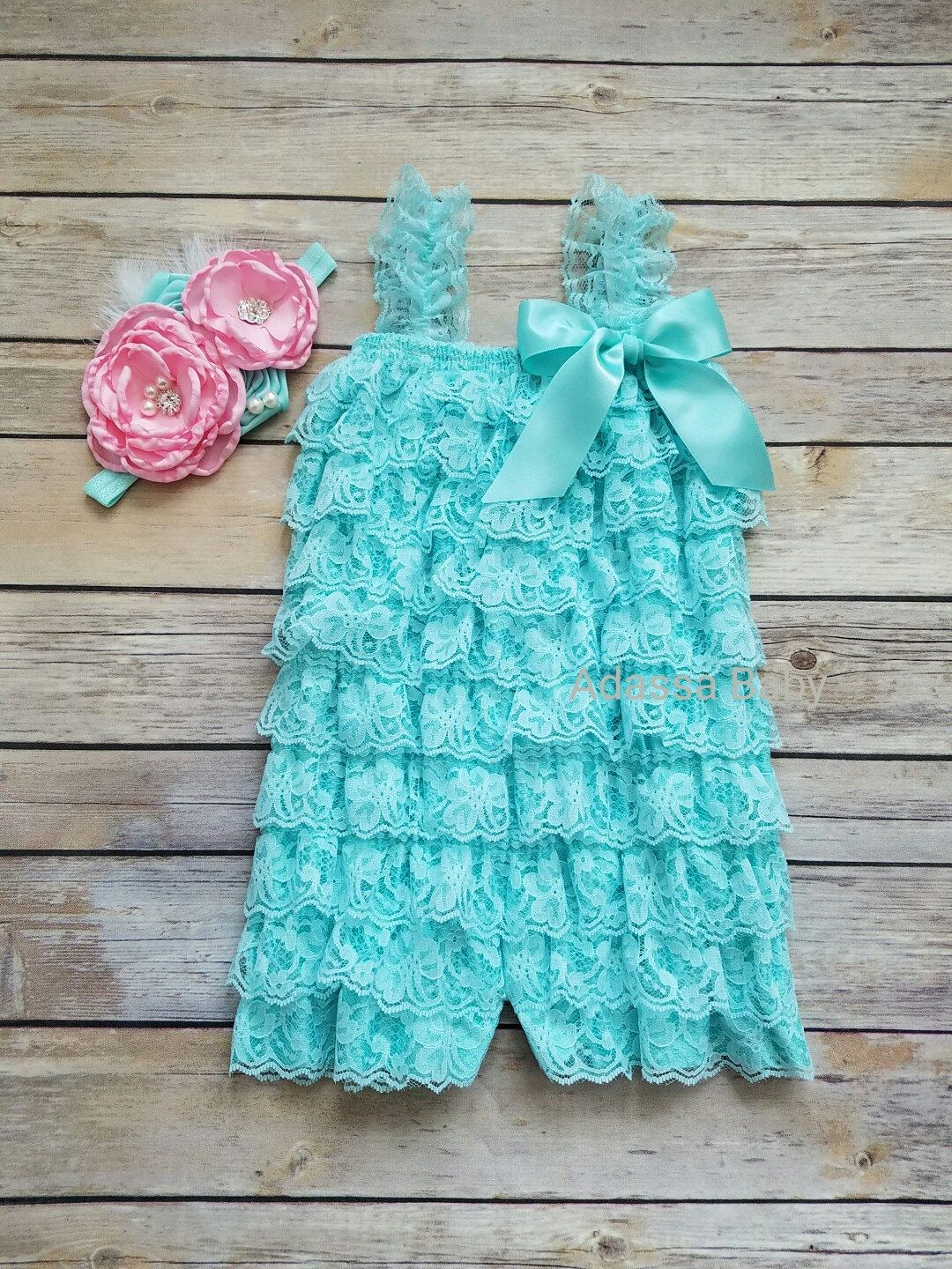 f088efec6 Aqua Lace Romper Ruffle Romper Headband Set Girl Photo Prop Outfit Baby  Girl Outfit Girls 1st Birthday Outfit Petti Lace Romper by AdassaBaby on  Etsy