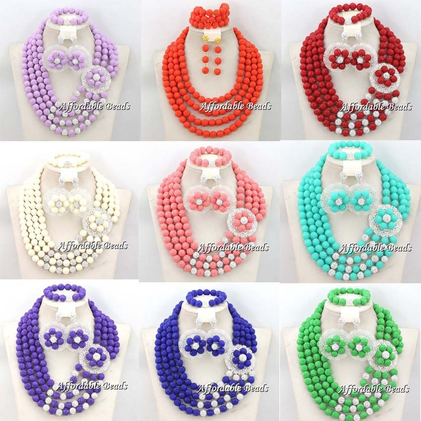 African Beads Jewelry Set With Brooches Nigerian Wedding Indian Dubai Hand Make Customized Bridal