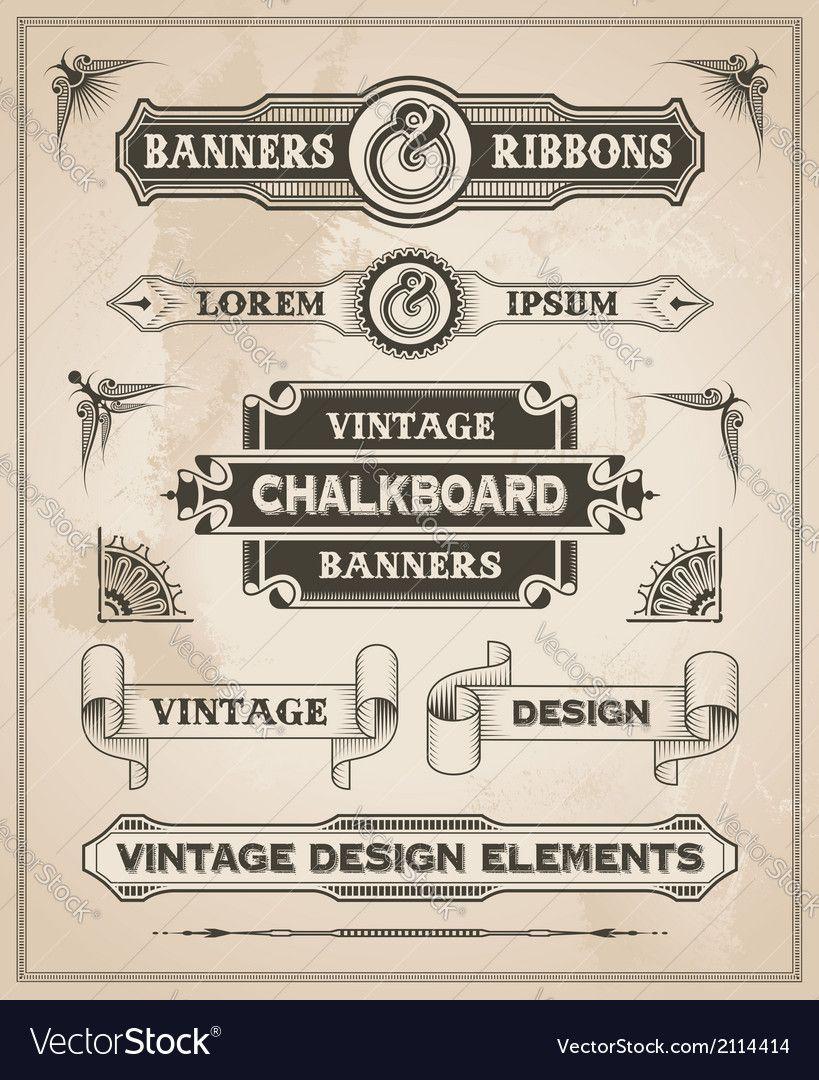 Vintage Retro Banner And Ribbon Set Vector Image On Vectorstock Vintage Ribbon Vector Vintage Banner Banner Drawing